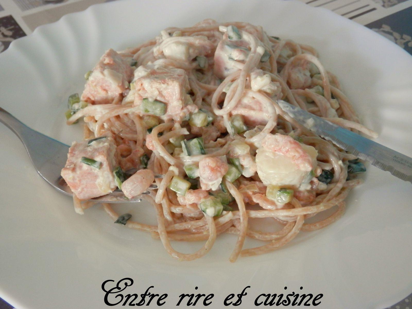Spaghetti aux Courgettes, au Saumon et petites Crevettes