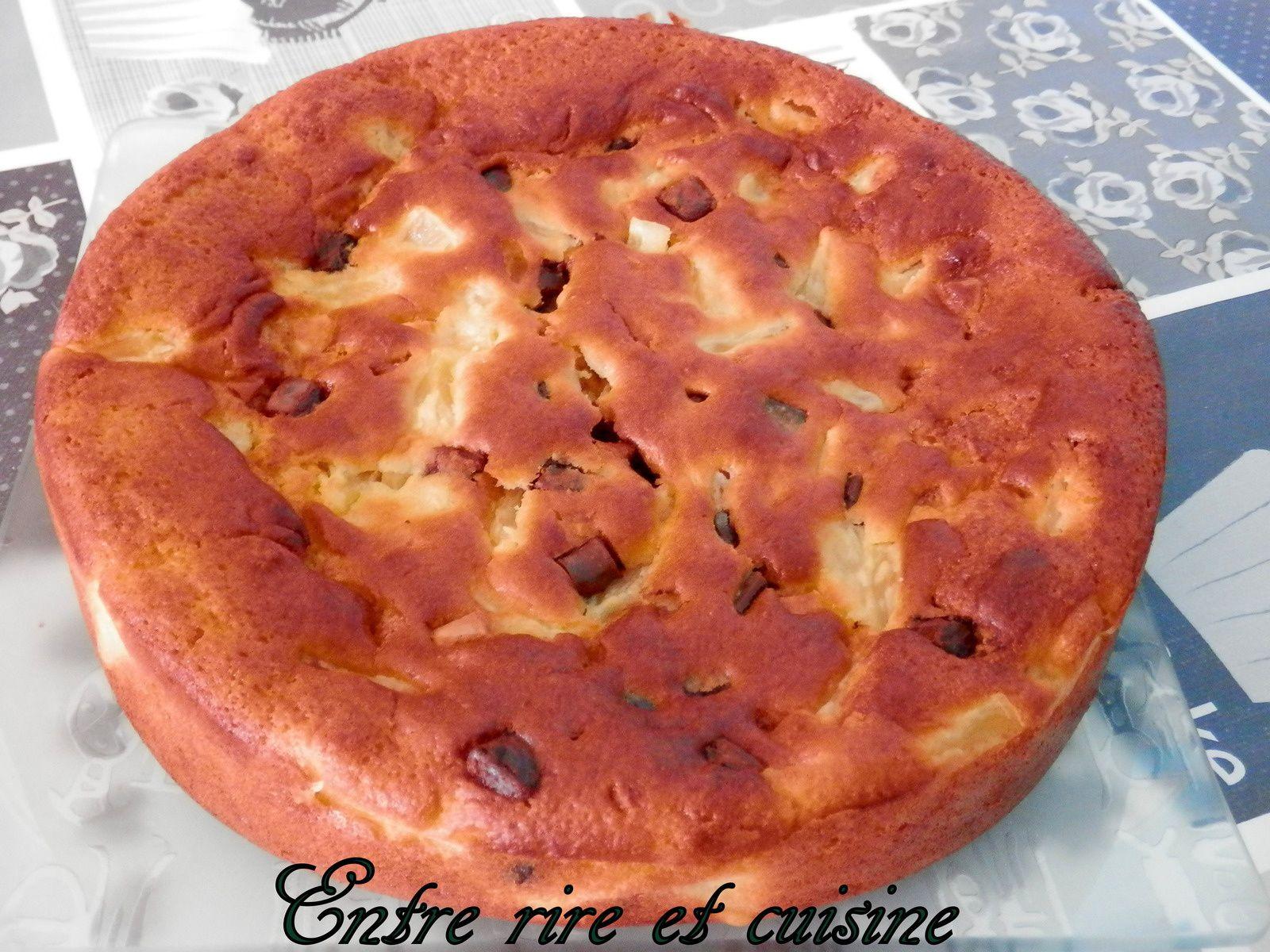 Gâteau au fromage blanc, ananas et chunks aux 3 chocolats