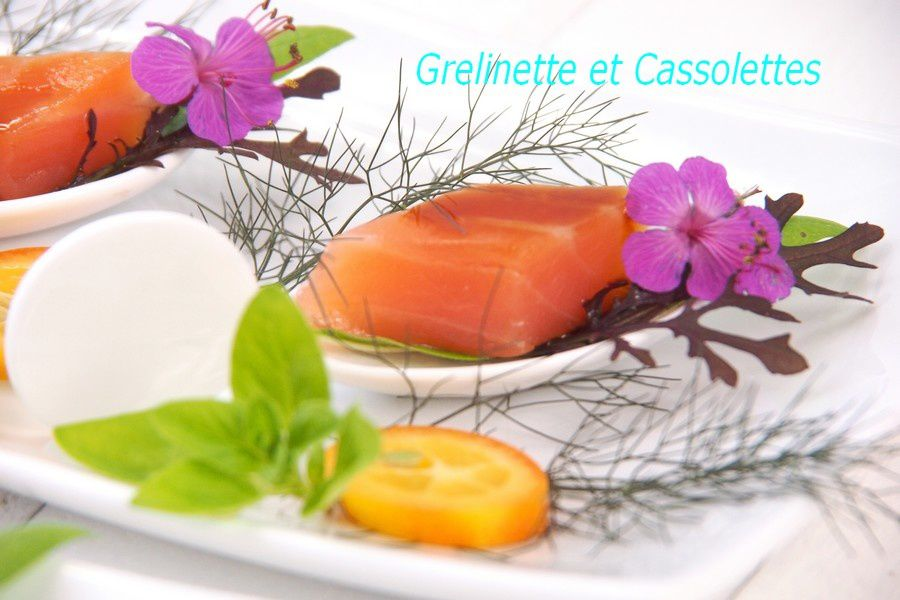 Coeur de Filet de Saumon Fumé, Caramel de Balsamique à l'Orange