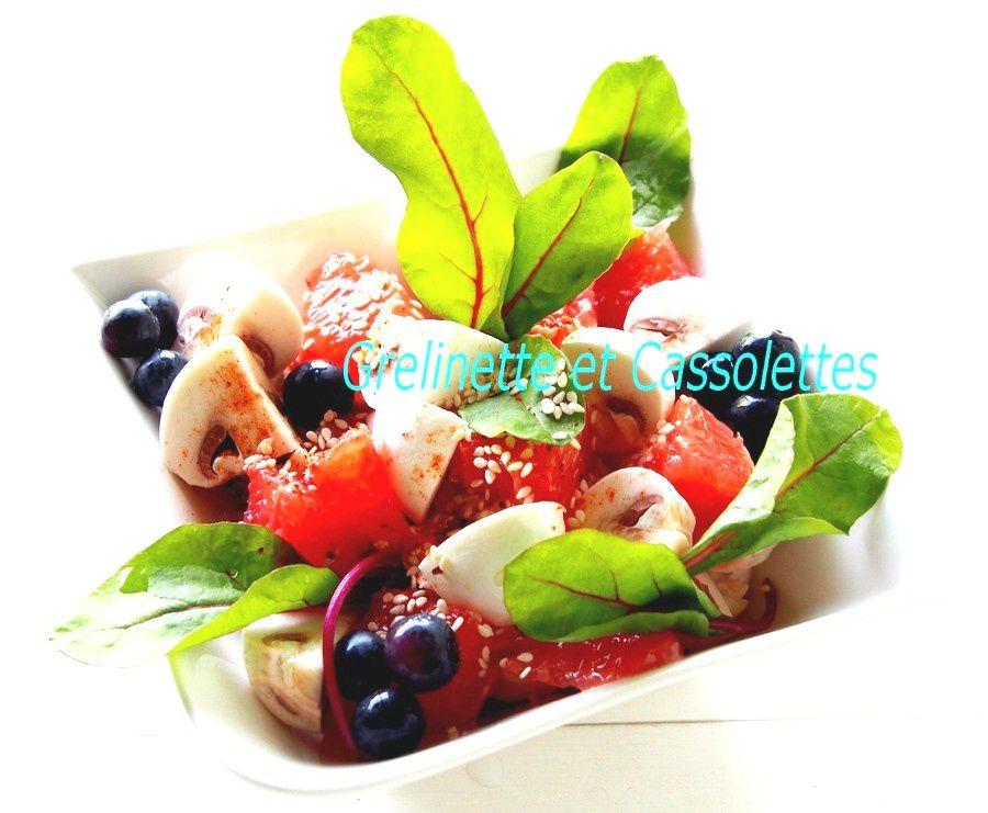 Salade de Champignons, Pamplemousse et Myrtilles