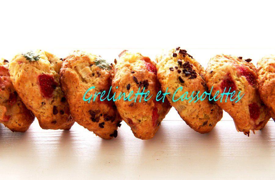 Cookies Fraises Rhubarbe et Grué de Cacao