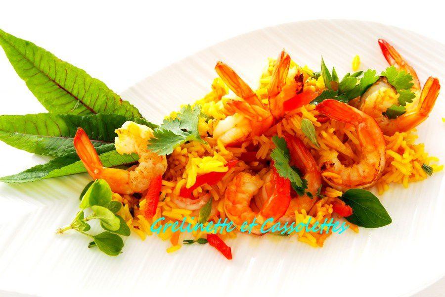 Wok de Crevettes au Curcuma, Riz Thaï