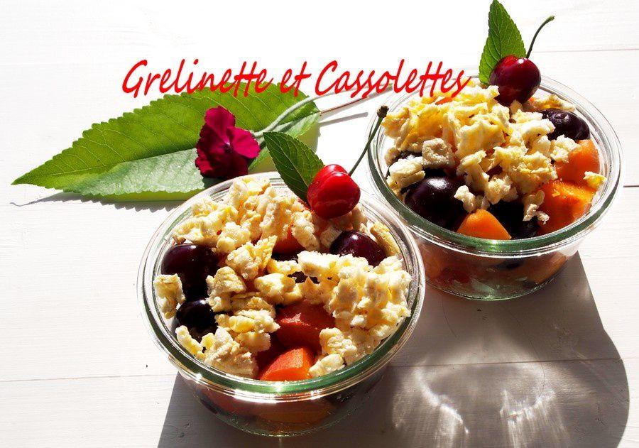 Crumble Express Cerises Abricot Maïs, Light et Frais