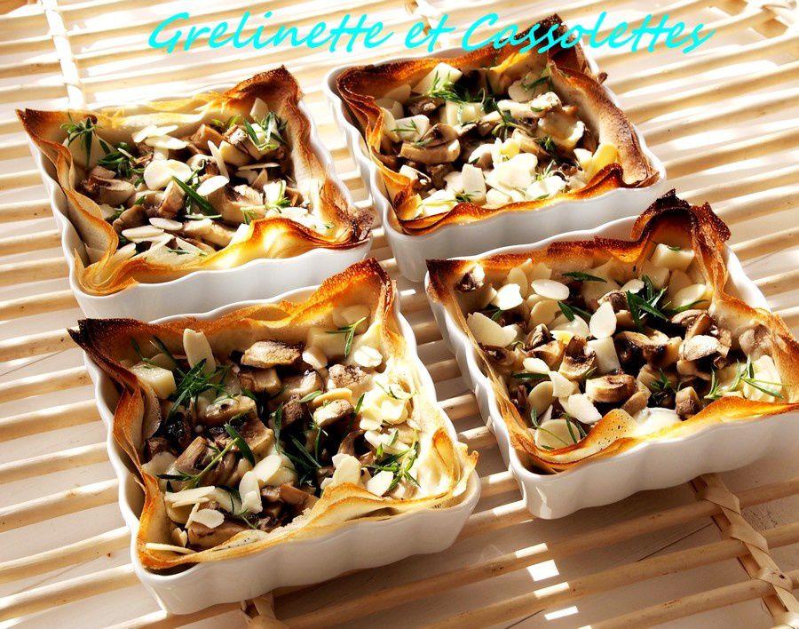 Tartelettes aux Champignons, au Fromage de Brebis et à la Sarriette