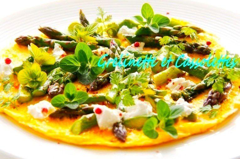 Asperges Vertes en Omelette, aux Herbes du jardin