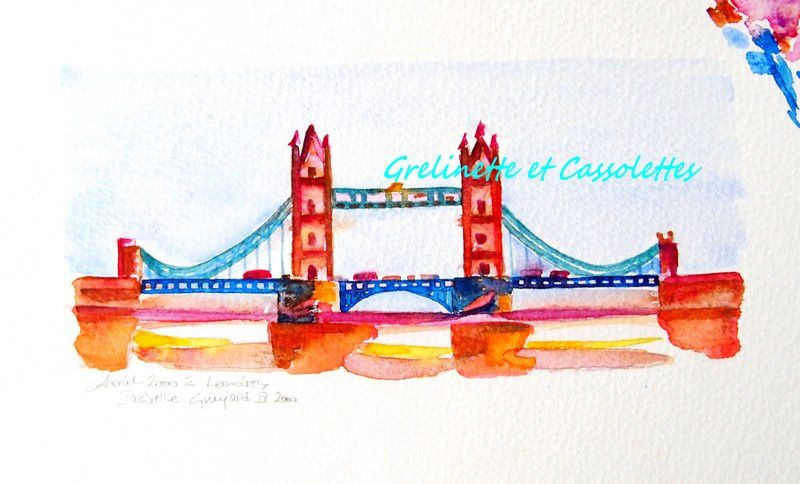 Aquarelle : Tower Bridge, London, Watercolor