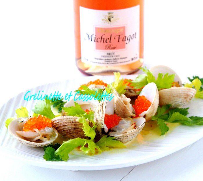 Fricassée de Praires au Safran et Champagne Rosé Brut Premier Cru Michel Fagot