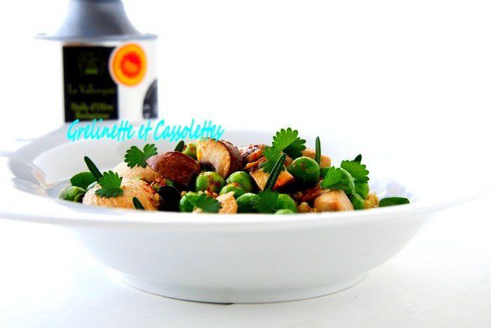 Fricassée de Poulet aux Petits Pois, Quinoa et Aromatiques du Jardin