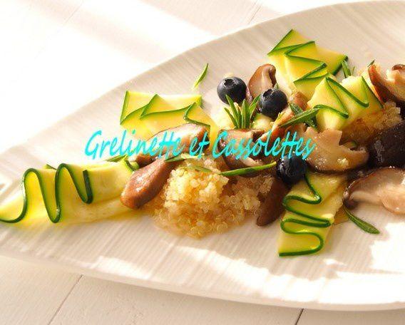 Quinoa aux Shiitakés, Sarriette et Jeunes Courgettes