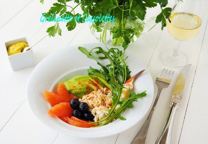 Araignée de Mer en Salade d'Avocat et de Pamplemousse