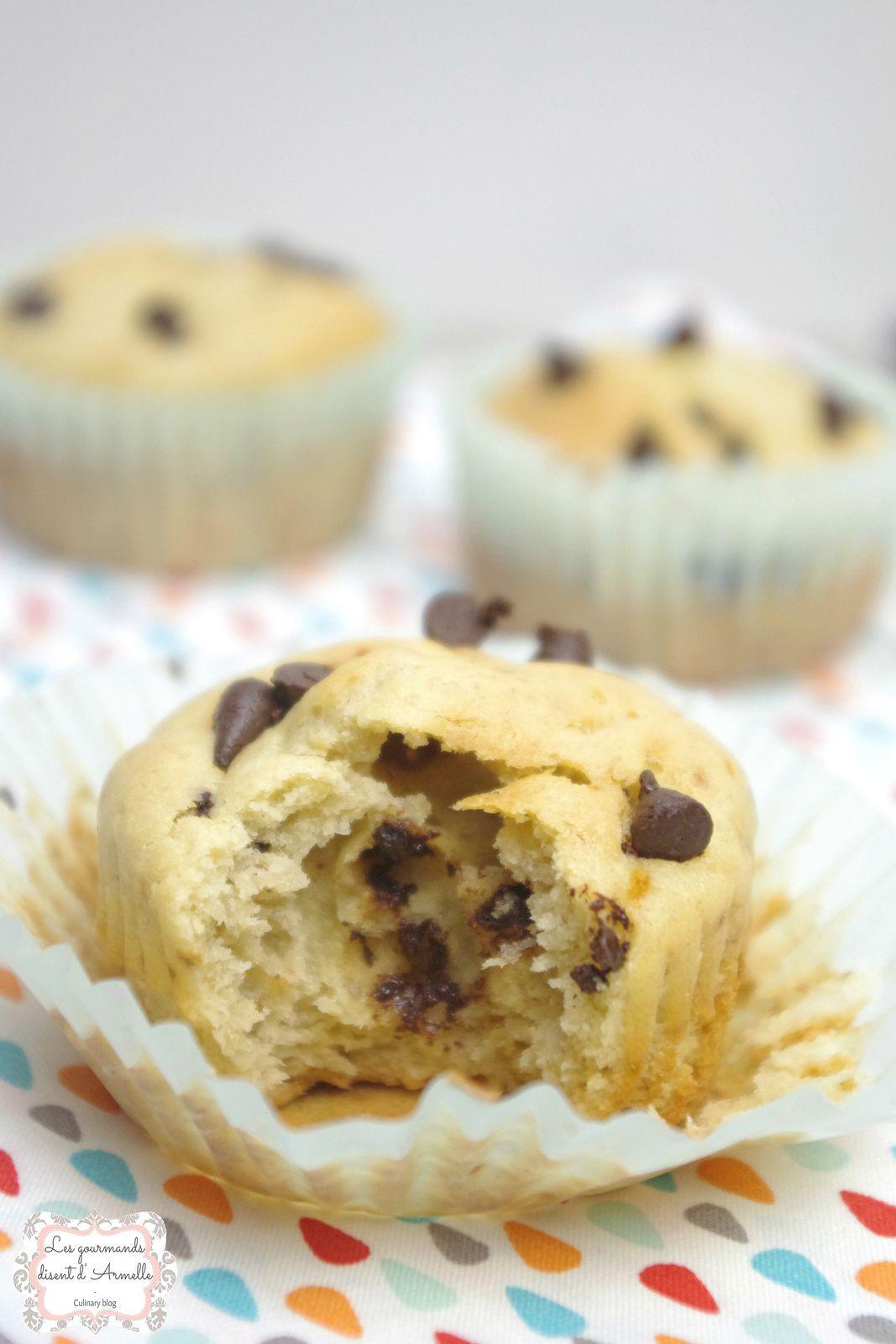 | Muffin au yaourt grec, banane et pépites de chocolat |