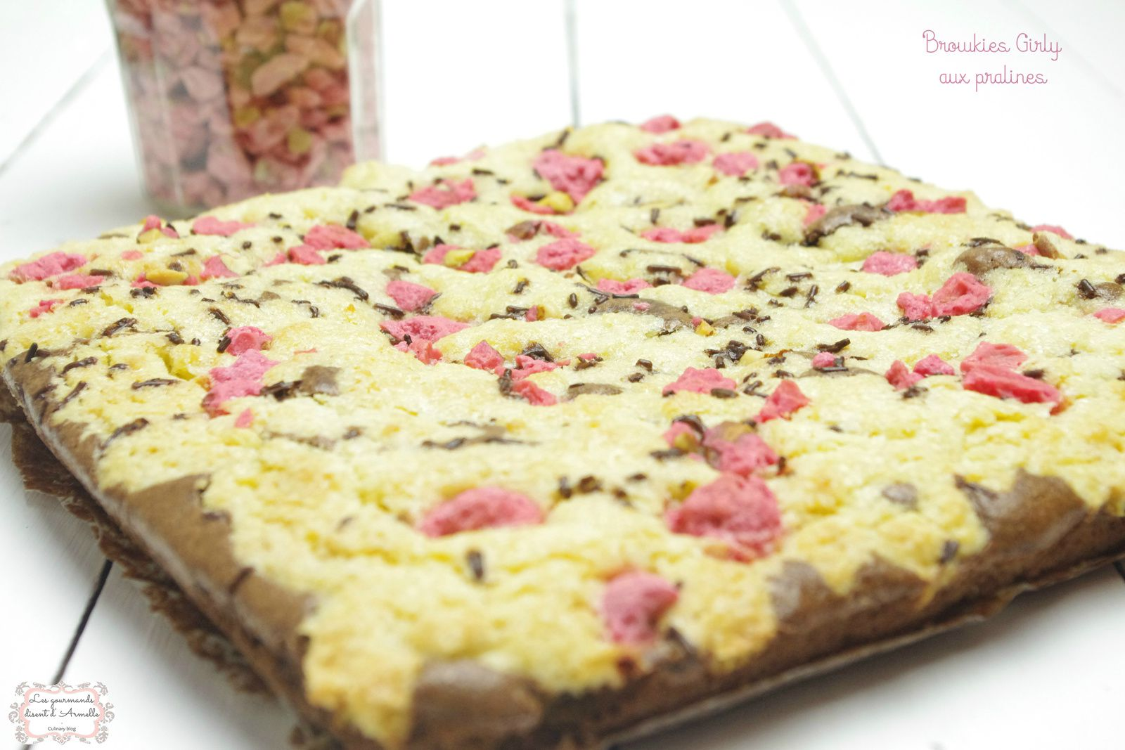 | Browkies girly | Aux pralines roses © Les Gourmands {disent} d'Armelle