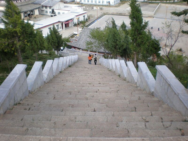 les escaliers du Temple de Guishan