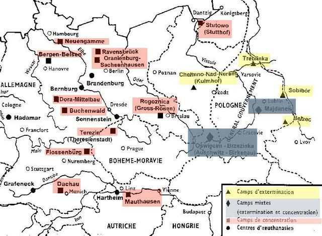 Carte des camps de concentration