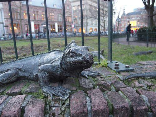 Sculpture d'iguanes, Iguana Park, Amsterdam, Pays Bas