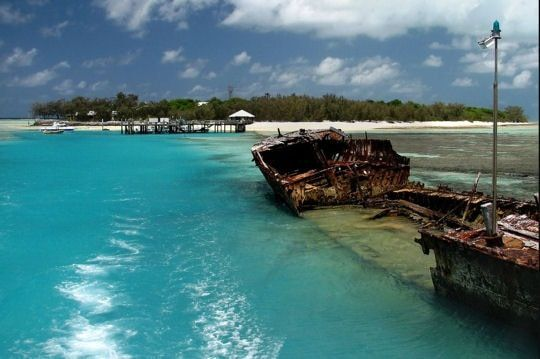 Le &quot&#x3B;Protector&quot&#x3B;, navire de guerre, abandonné au paradis, Héron Island