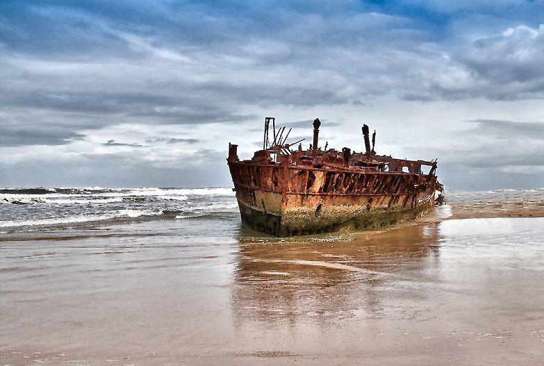 Le SS Maheno, navire abandonné depuis 1935, île Fraser, Australie