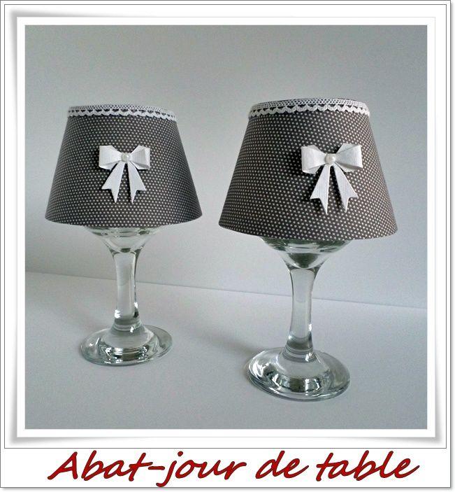 deux petits abat-jours servant de photophore à déposer sur la table lors des repas de fêtes.