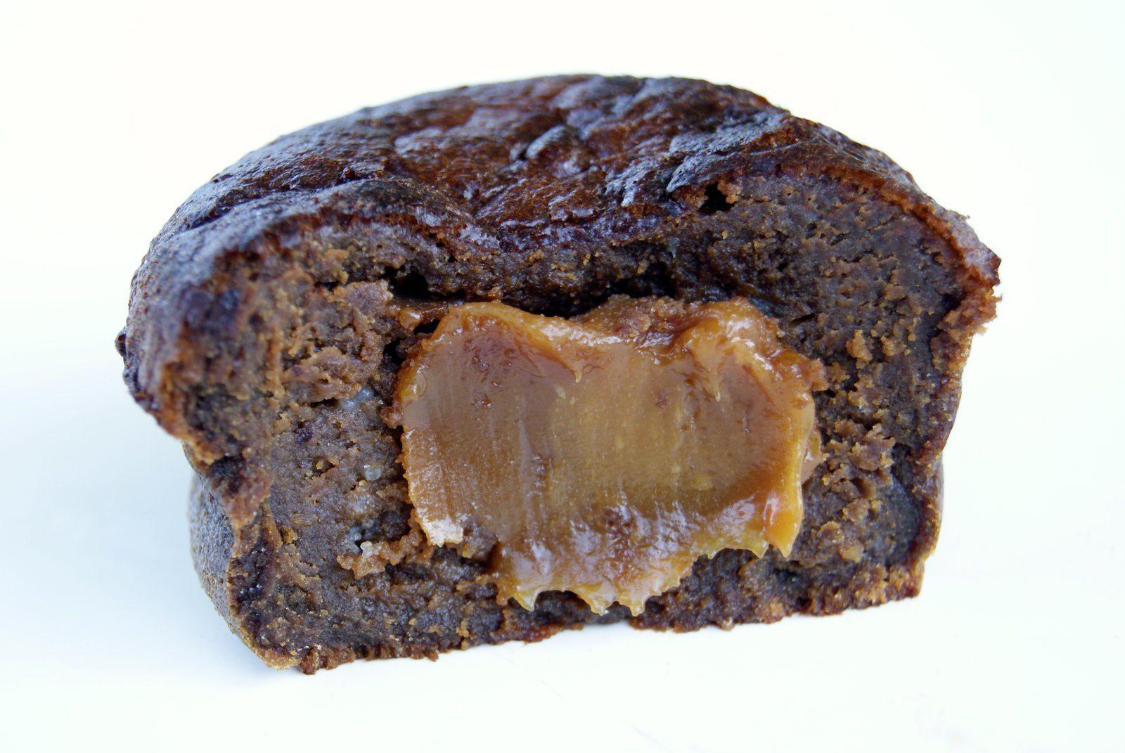 Moelleux au chocolat, coeur de caramel