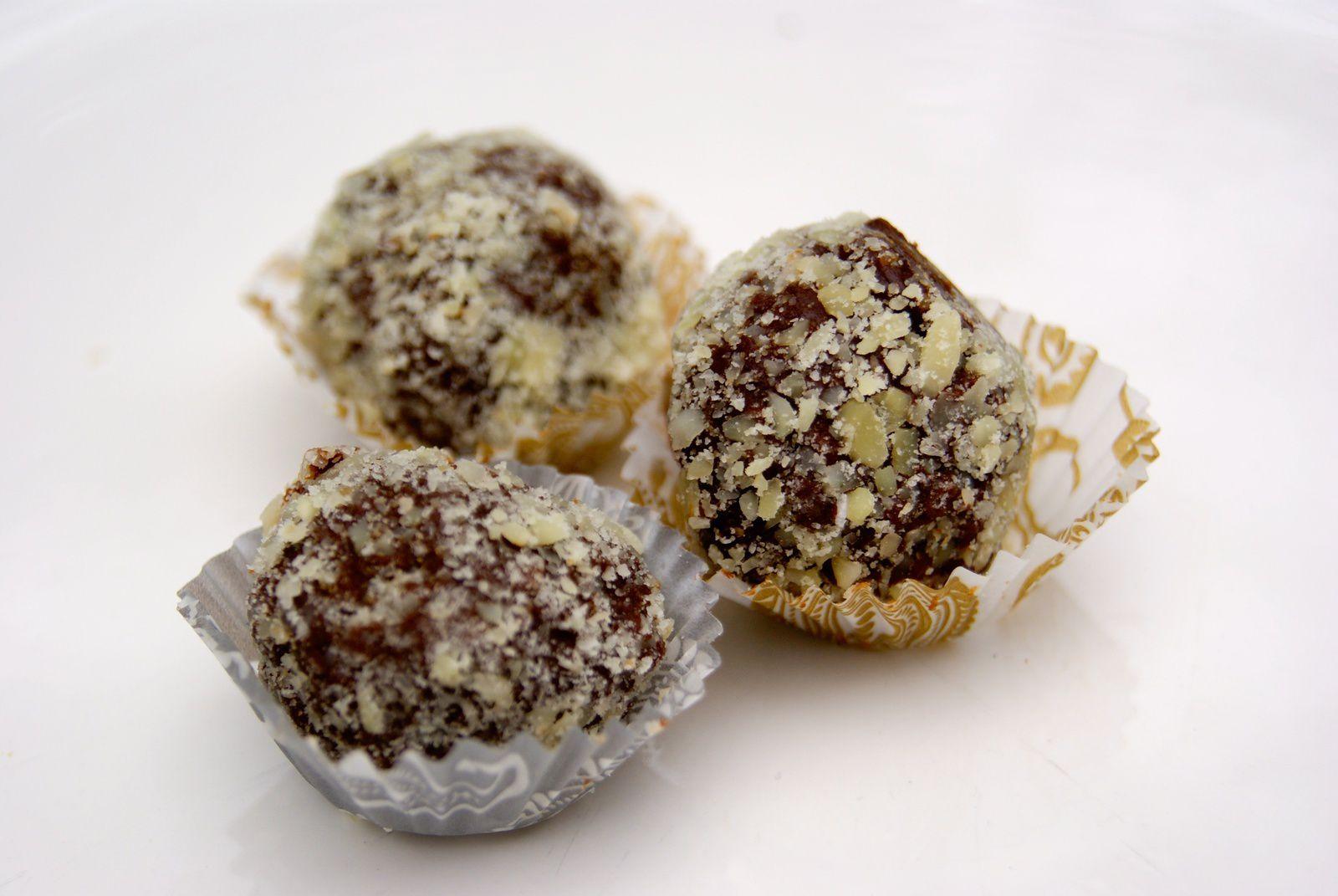 Truffes pralinées au chocolat noir