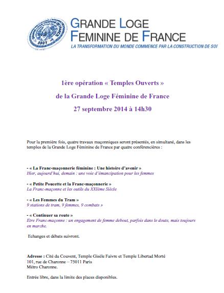 """La GLFF à """"Temples ouverts"""", le 27 septembre..."""