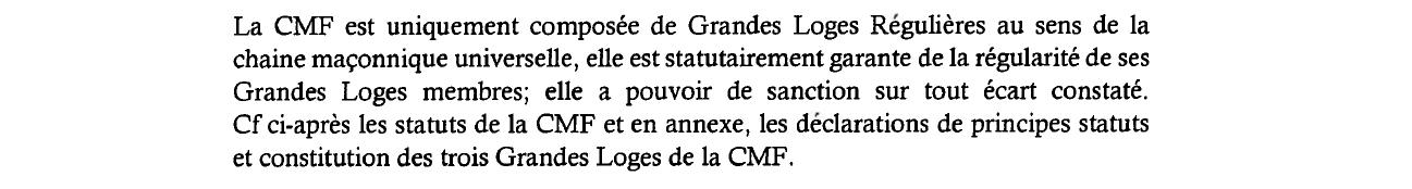 Paragraphe n°3 de la Lettre d'Intention de la CMF