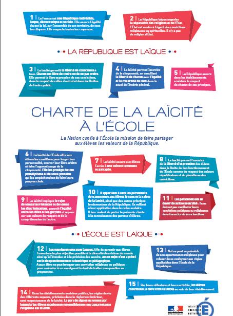 La Charte de la Laïcité à l'école officielle.