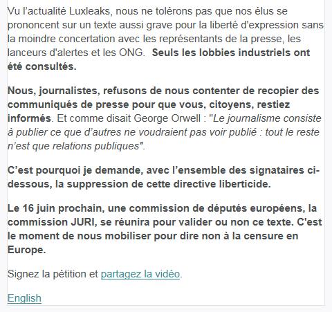 Liberté d'expression. Elice Lucet lance une pétition : Informer n'est pas un délit !