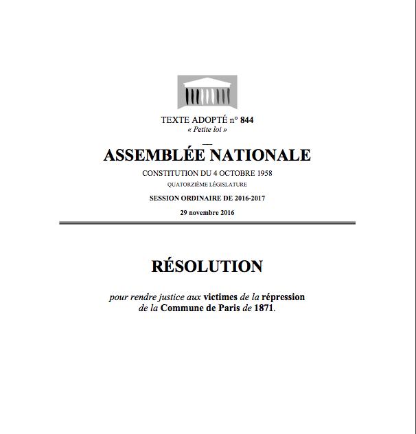 L'Assemblée Nationale réhabilite les victimes de la répression d'Adolphe Thiers...