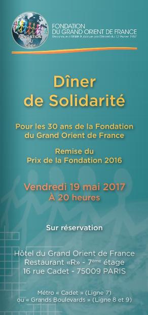 19 mai Diner de Solidarité de la Fondation du GODF