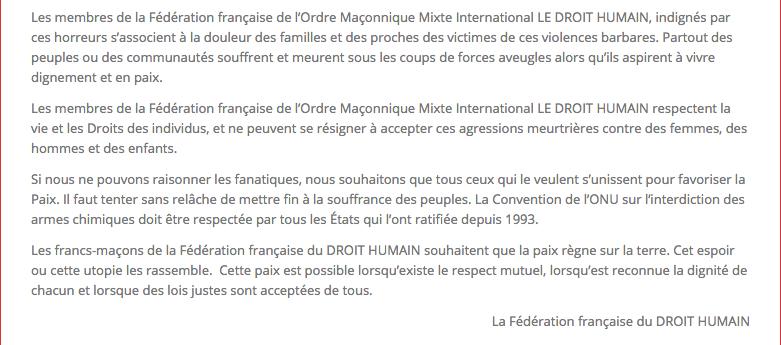 Pour la Paix et la Tolérance Communique de la Fédération Française du Droit Humain