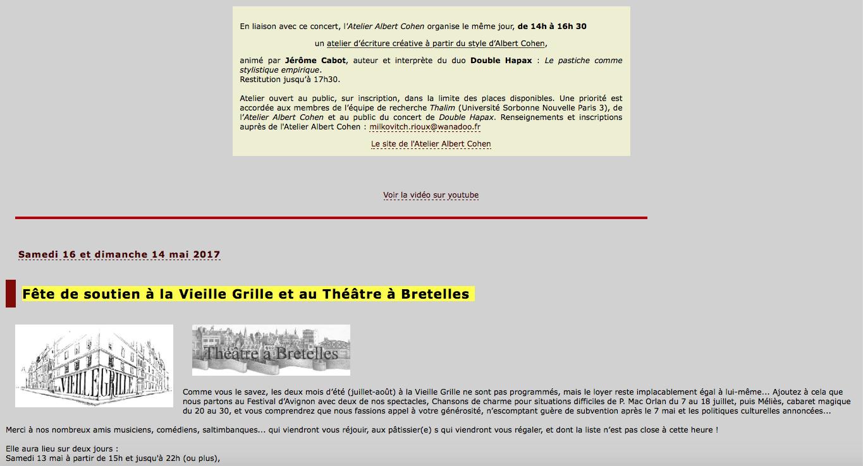 La Vieille Grille. Programme avril-mai 2017