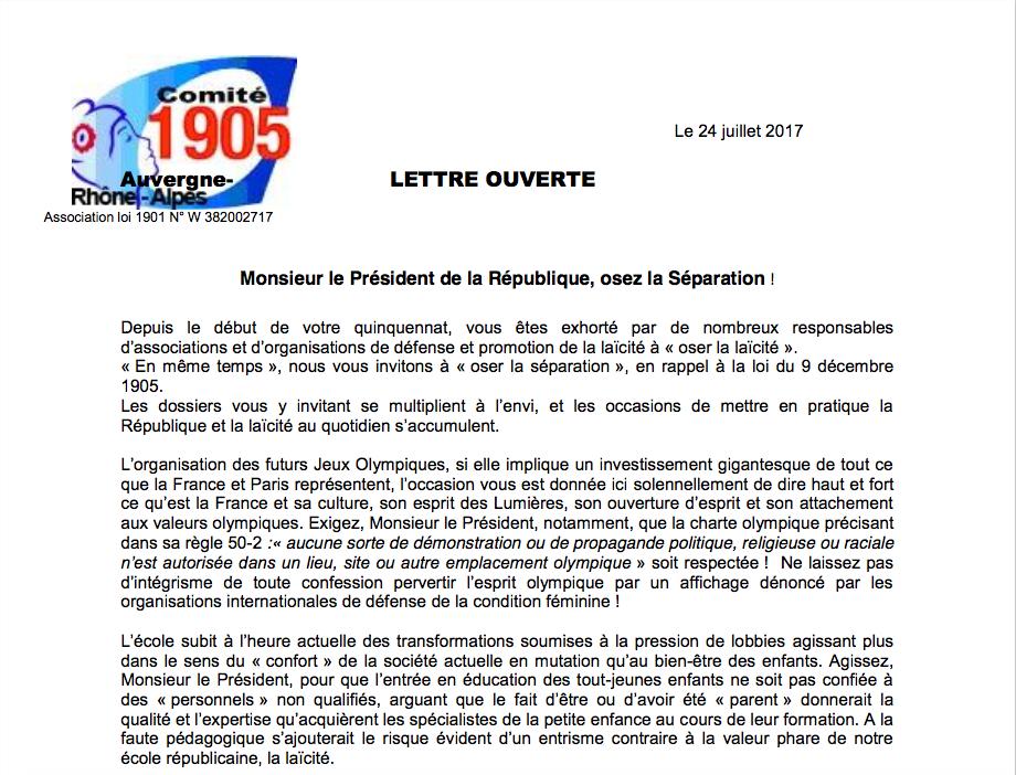 Comité 1905 ARA : Lettre ouverte à M. le Président de la République