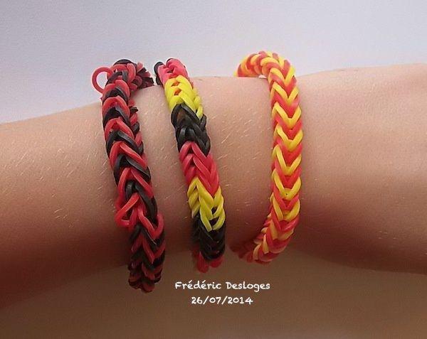 Les 3 bracelets en élastiques faits par Frédéric (7 ans 1/2)