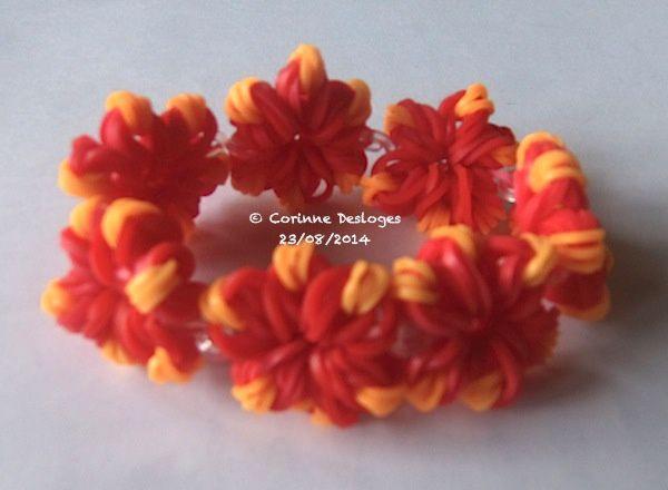 BRACELETS d'élastiques &quot&#x3B;fleurs de feu&quot&#x3B;