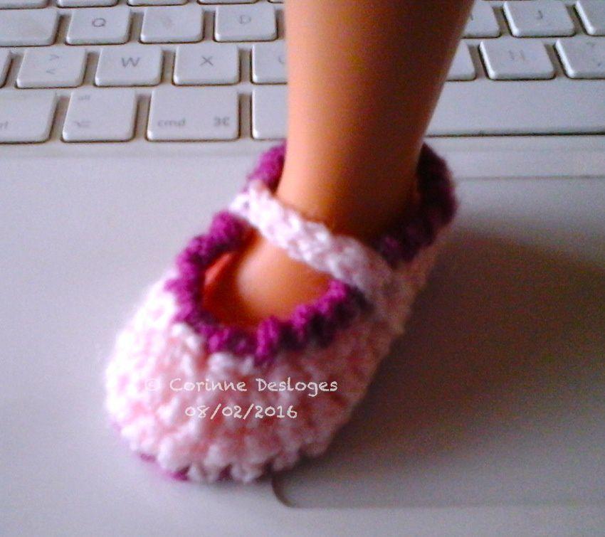 Ballerines au crochet pour poupée Nancy, création perso.
