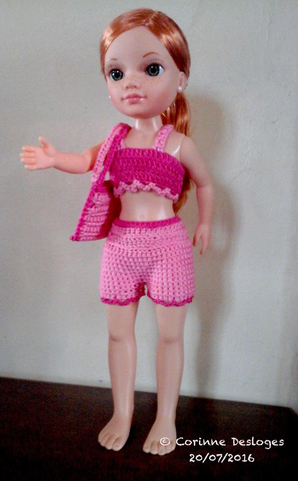 """Sac de plage """"Rosalinde"""" pour poupée Nancy, création personnelle (coton & crochet)"""