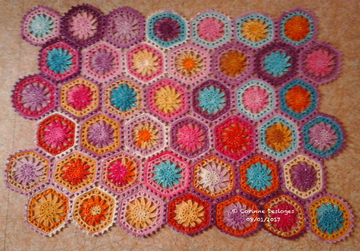 CROCHET : hexaplaid, 42 modules.... et c'est pas fini !