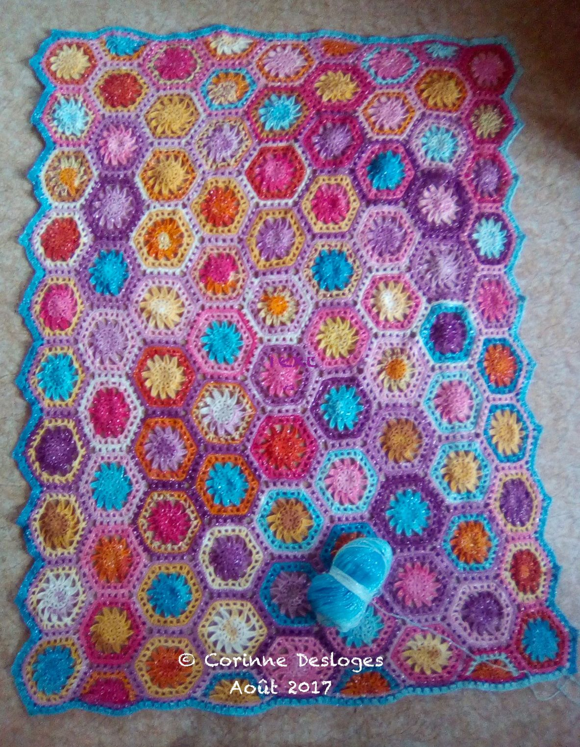CROCHET : Hexaplaid, bordure en cours.