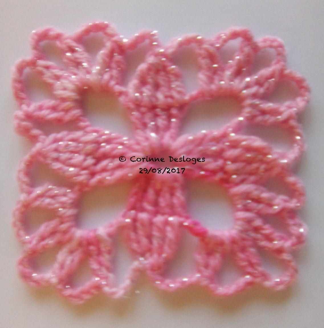 CROCHET : encore des grannies roses en laine