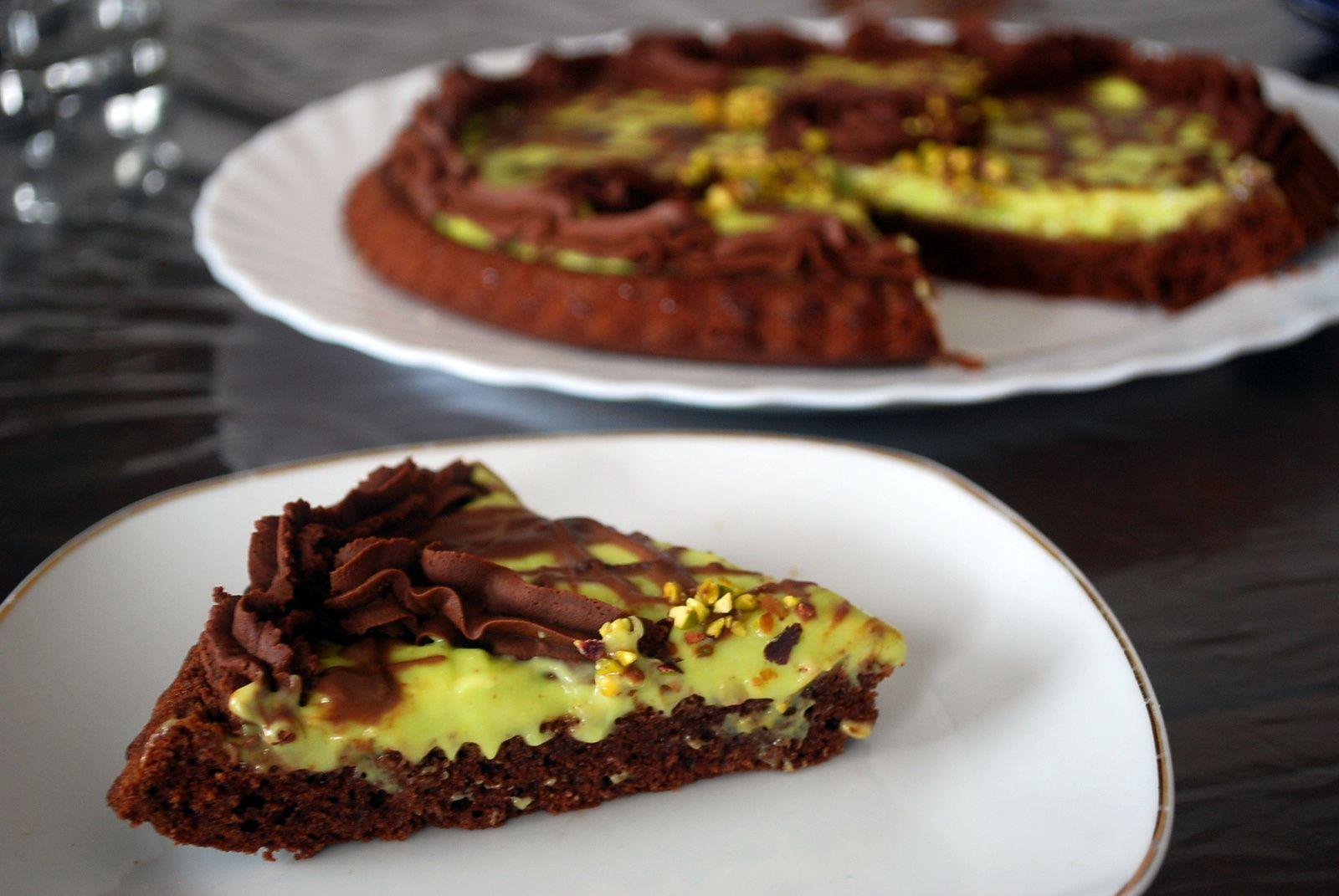 Tarte renversée aux chocolat pistache