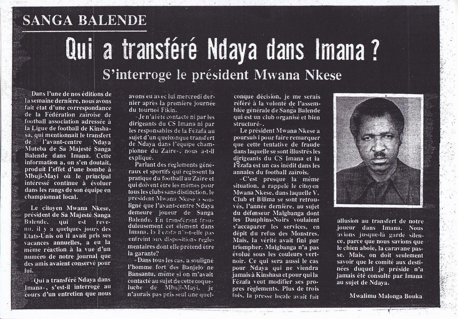 Mwana Nkese , président de S.M Sanga Balende
