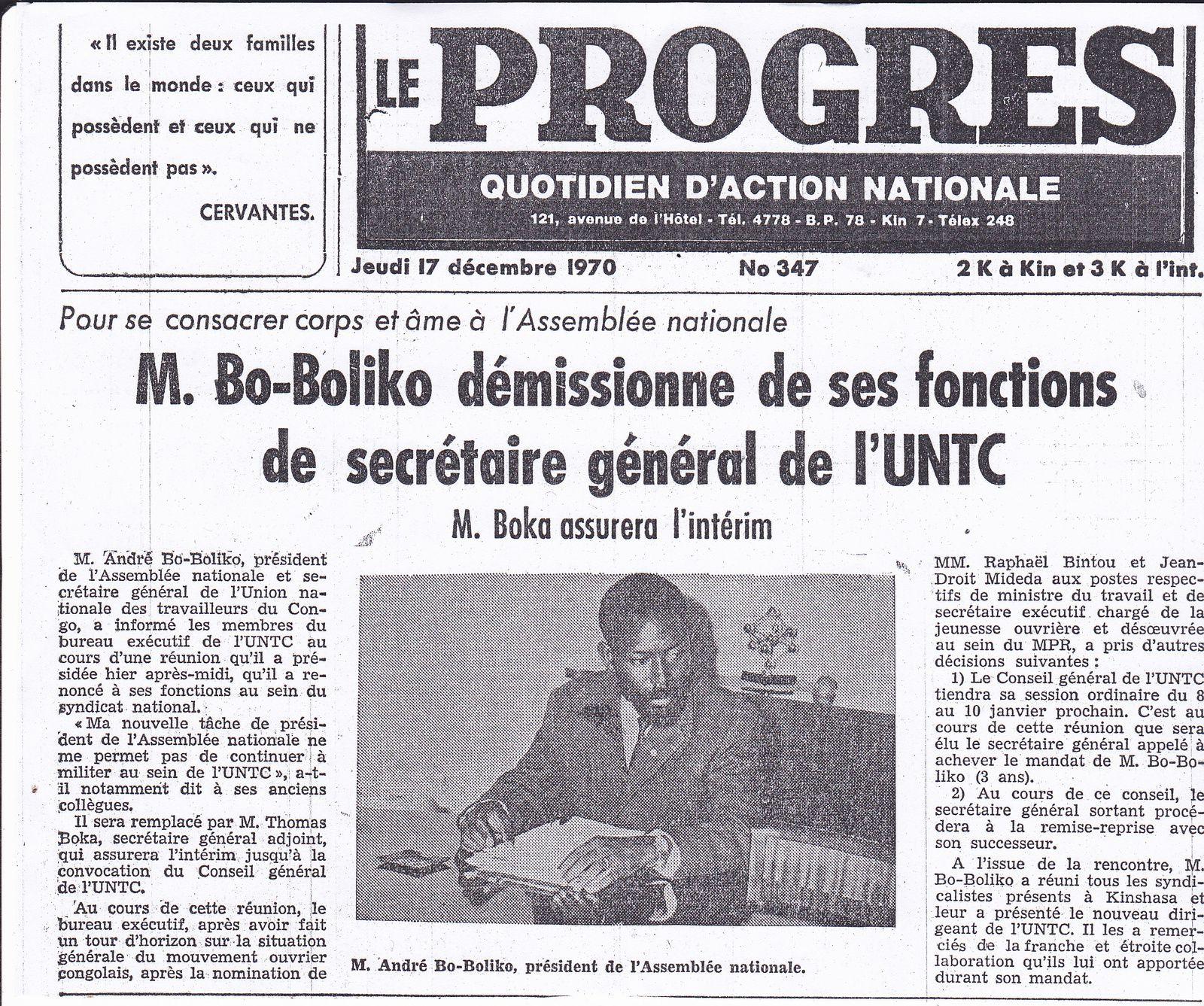 Le Progrès N° 347 du jeudi 17 décembre 1970.