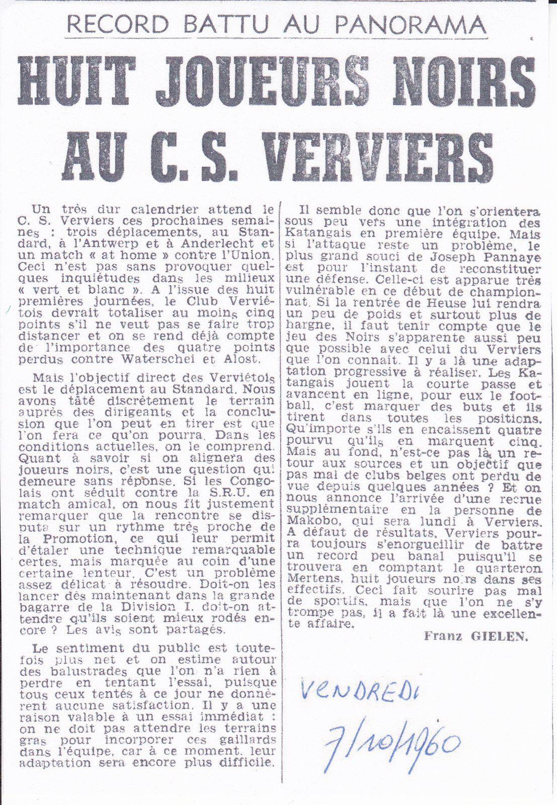 Octobre 1960 :Huit joueurs noirs au C.S Verviers &#x3B; un record !!!.