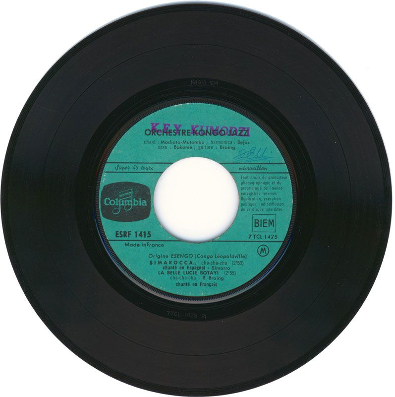 Lucie Botay sur un disque Columbia,  édition d'origine Esengo.