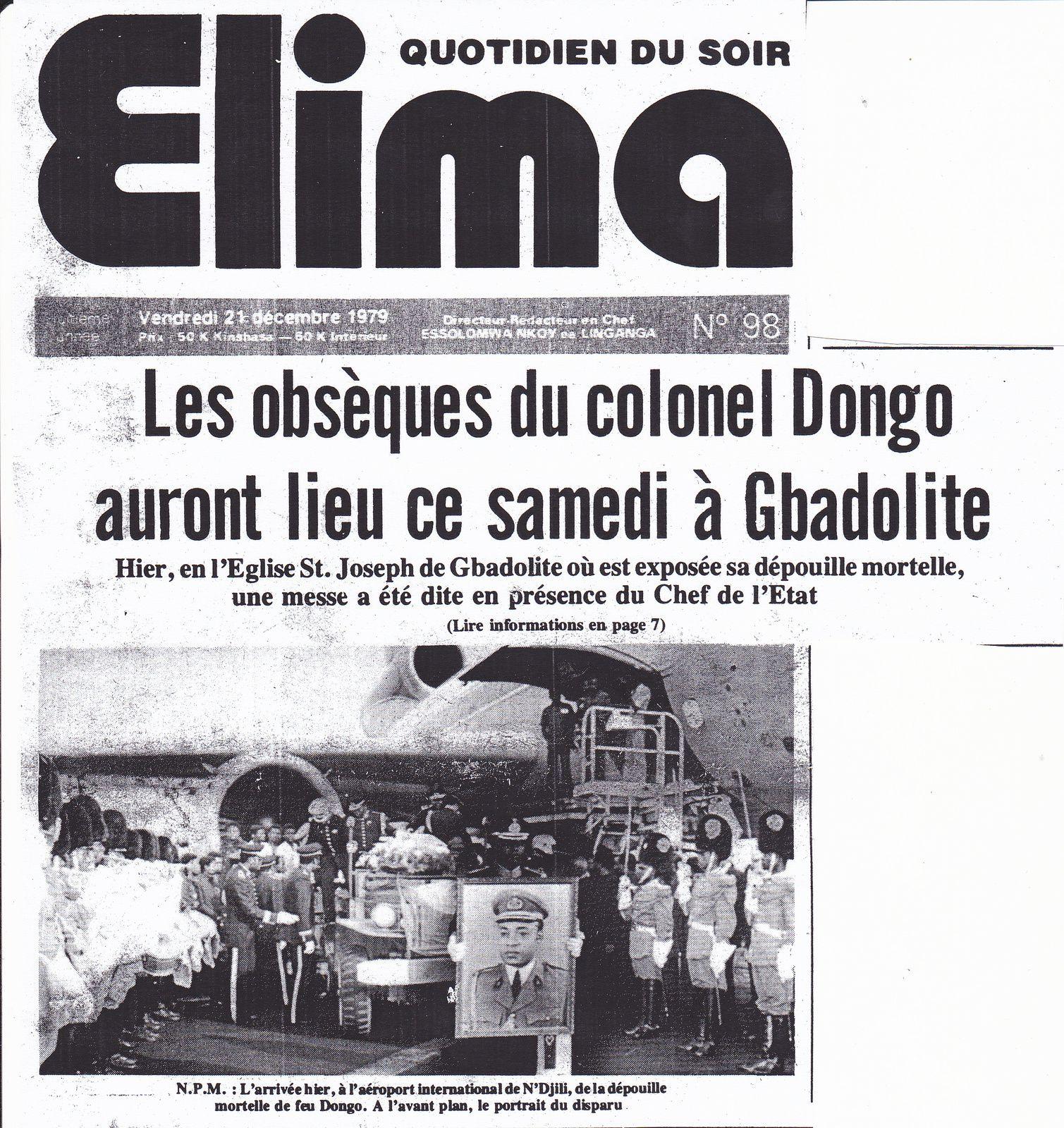22 décembre 1979 : Les obsèques du colonel Dongo Mobutu à Gbadolite.