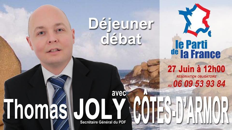 Rappel : Déjeuner-débat avec Thomas Joly dans les Côtes d'Armor le samedi 27 juin