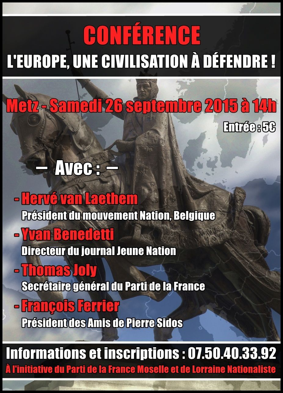 Conférence à Metz samedi 26 septembre sur l'identité européenne