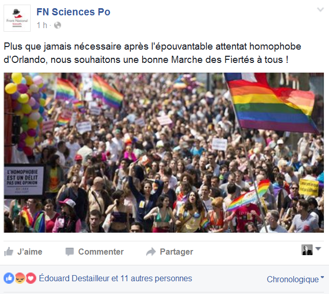 Le « FN Sciences Po » appelle à participer à la Gay Pride