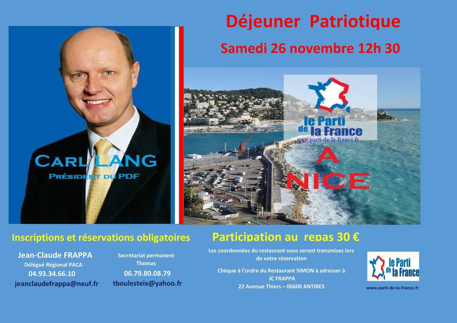 Nice : Déjeuner patriotique avec Carl Lang samedi 26 novembre
